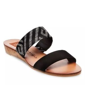 Dolce Vita Bailey Slide Sandals Black Tribal Print